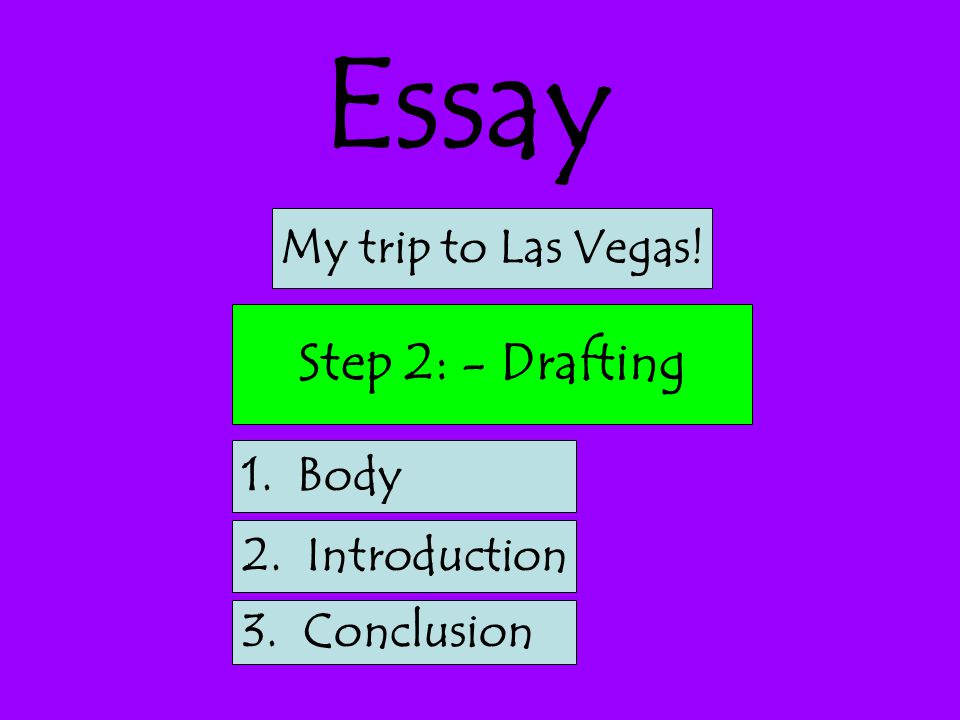 Essay Step 2: - Drafting My trip to Las Vegas! 1. Body 2. Introduction