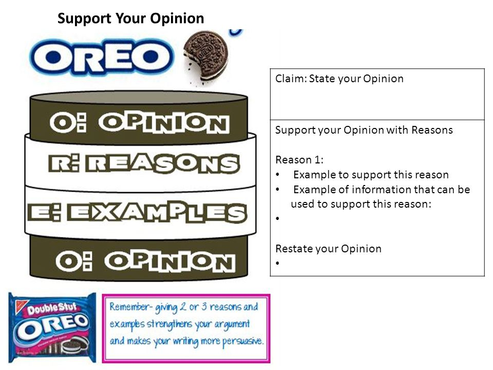 Support Your Opinion Claim: State your Opinion