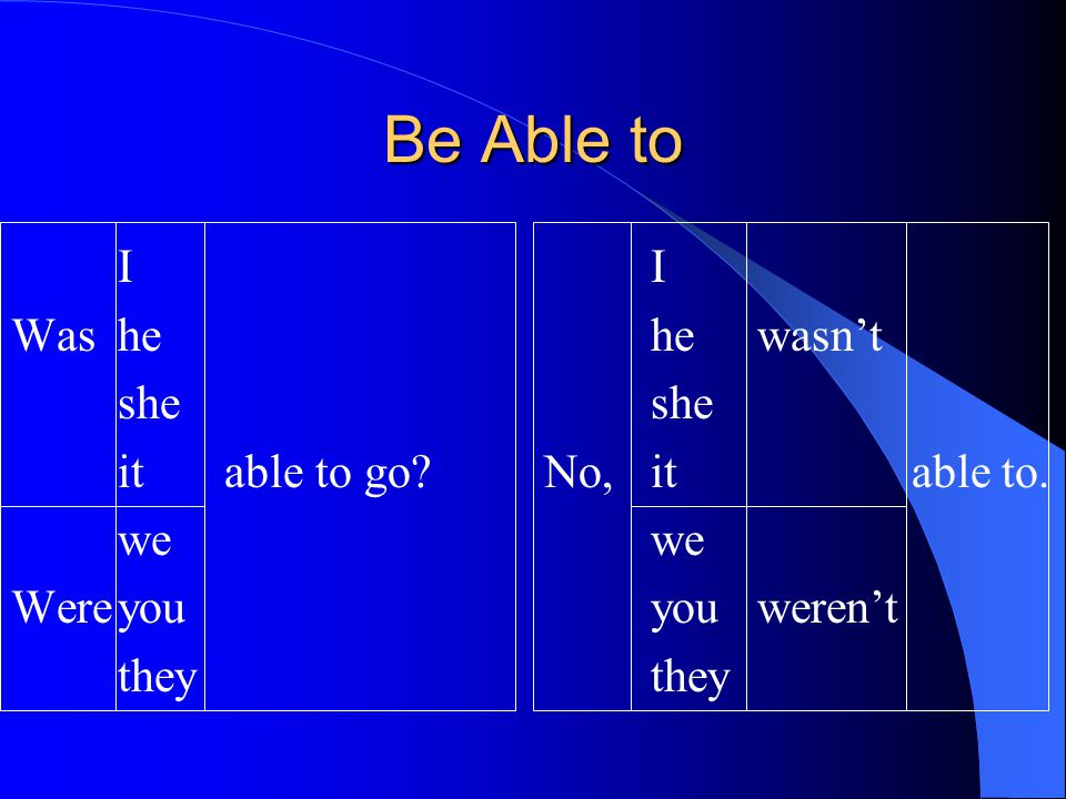 Be Able to I I Was he he wasn't she she it able to go No, it able to.