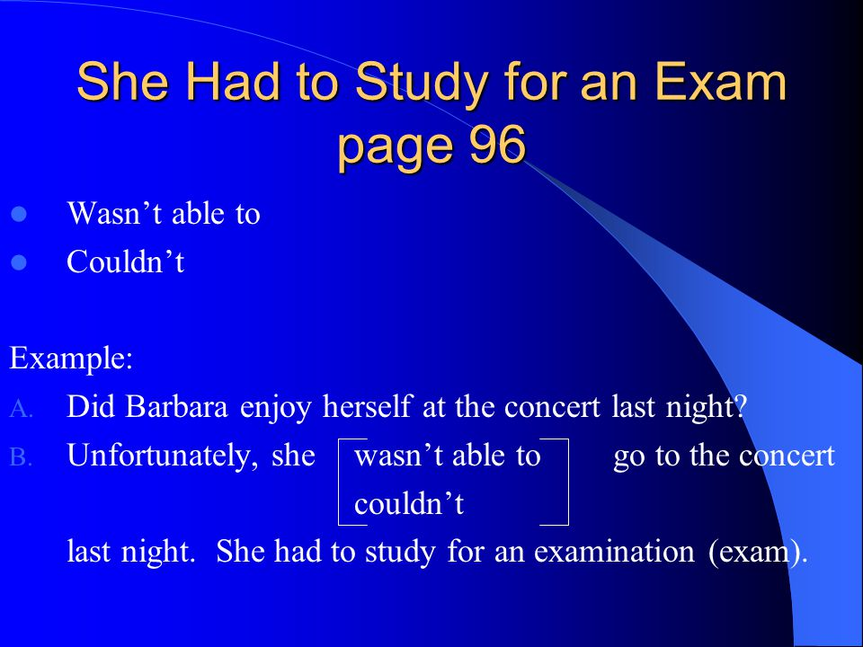 She Had to Study for an Exam page 96