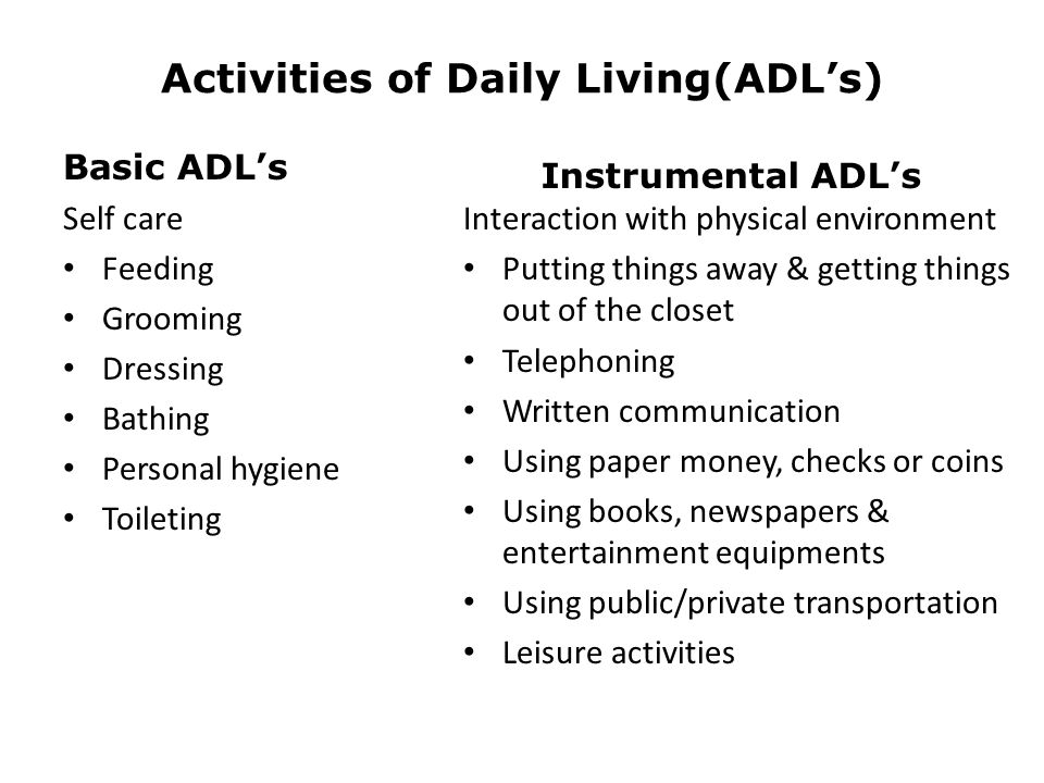 Activities of Daily Living(ADL's)