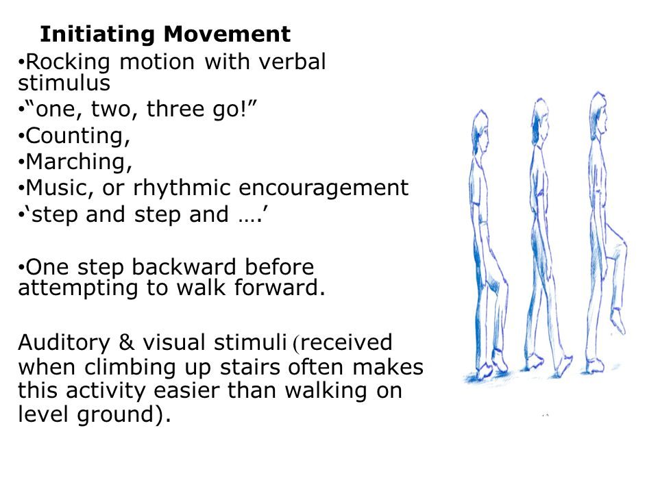 Initiating Movement Rocking motion with verbal stimulus. one, two, three go! Counting, Marching,