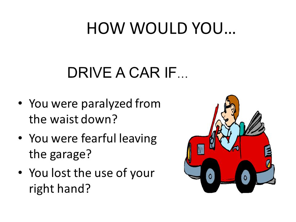 HOW WOULD YOU… DRIVE A CAR IF… You were paralyzed from the waist down
