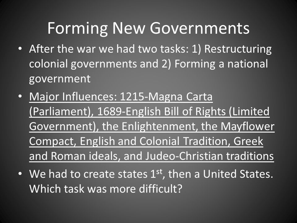 Forming New Governments
