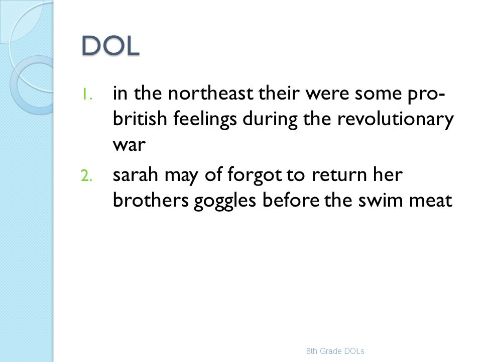 DOL in the northeast their were some pro- british feelings during the revolutionary war.