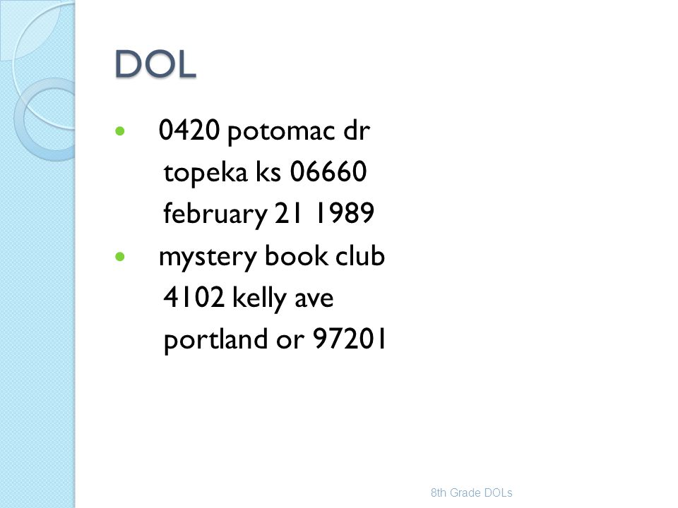 DOL 0420 potomac dr topeka ks 06660 february 21 1989 mystery book club