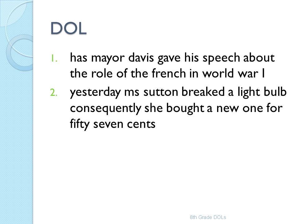 DOL has mayor davis gave his speech about the role of the french in world war I.