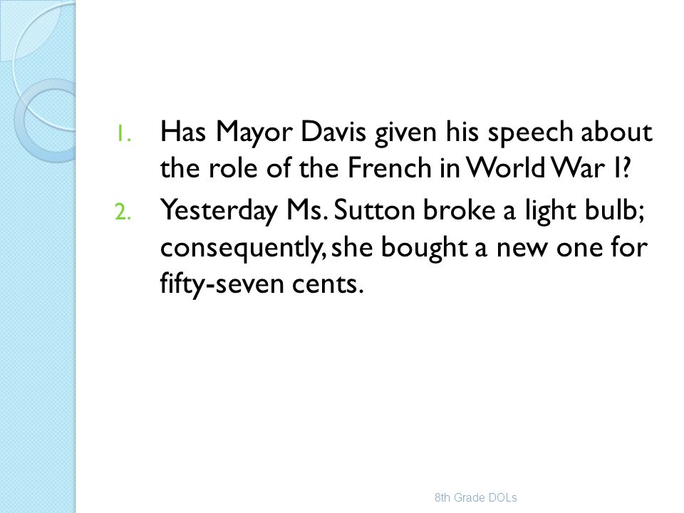 Has Mayor Davis given his speech about the role of the French in World War I