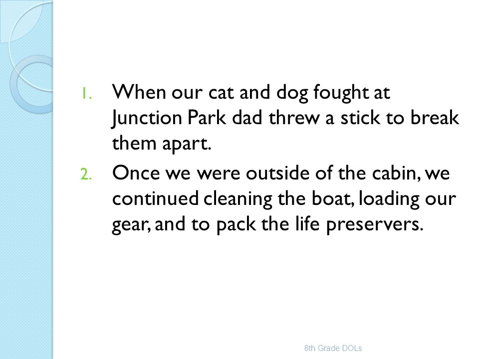 When our cat and dog fought at Junction Park dad threw a stick to break them apart.