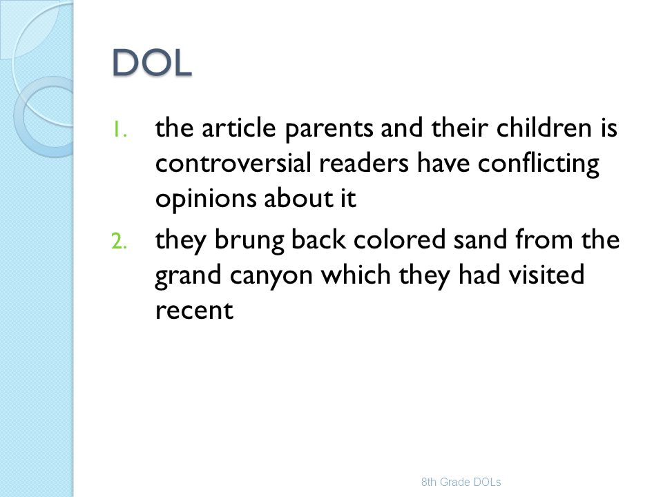 DOL the article parents and their children is controversial readers have conflicting opinions about it.