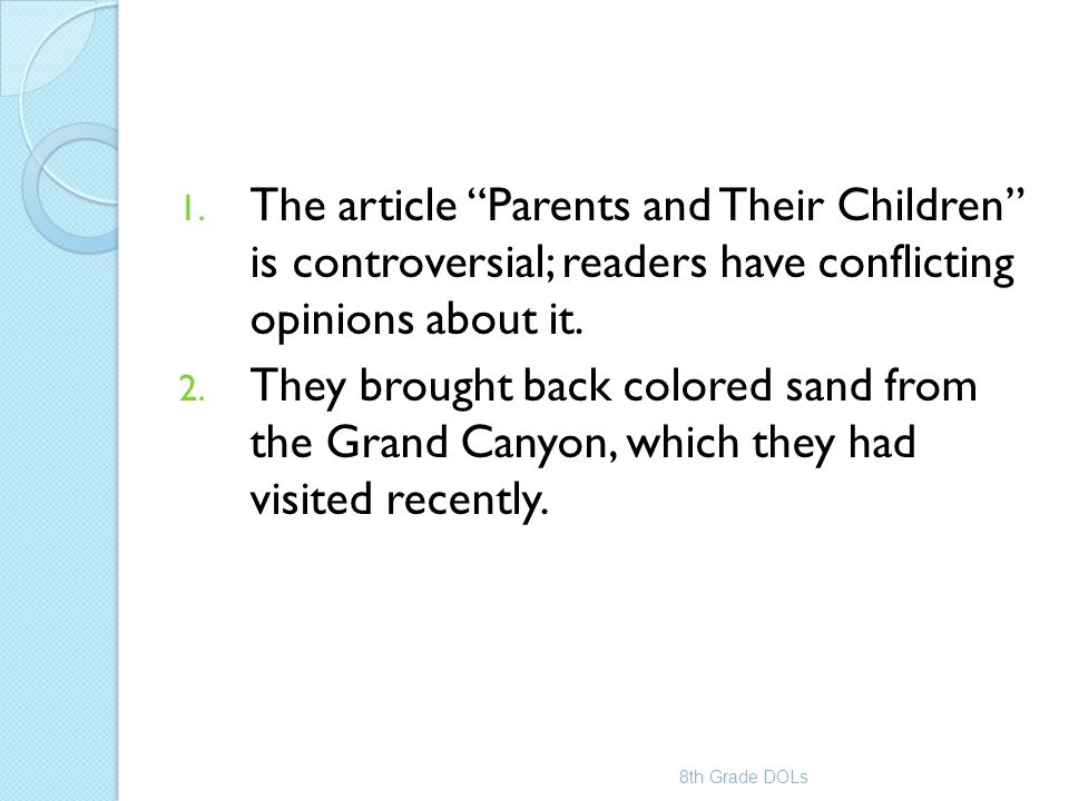 The article Parents and Their Children is controversial; readers have conflicting opinions about it.