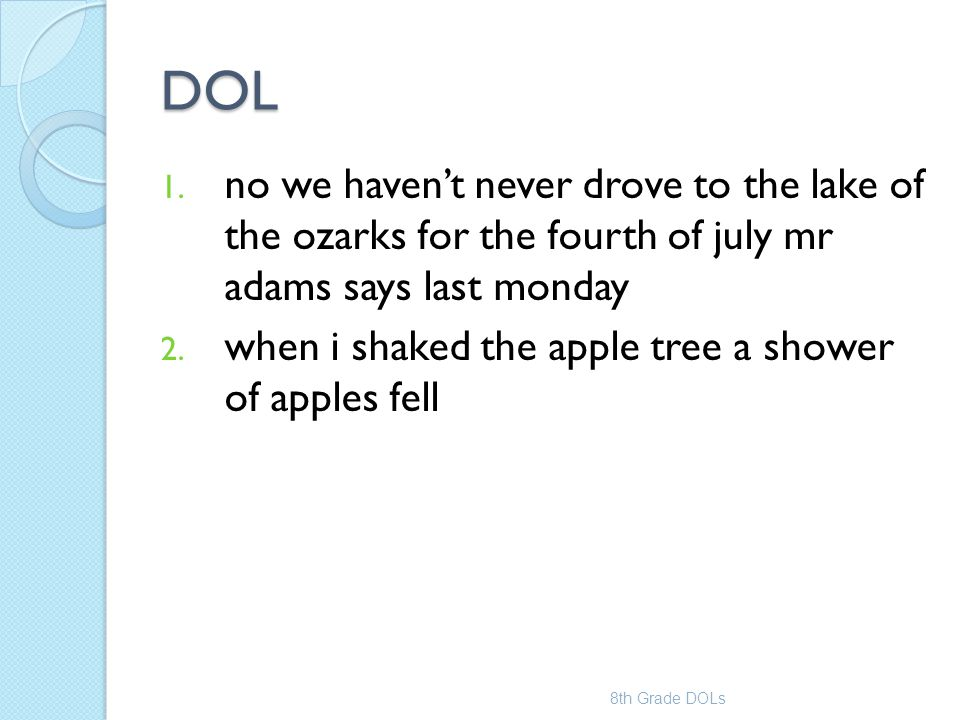 DOL no we haven't never drove to the lake of the ozarks for the fourth of july mr adams says last monday.