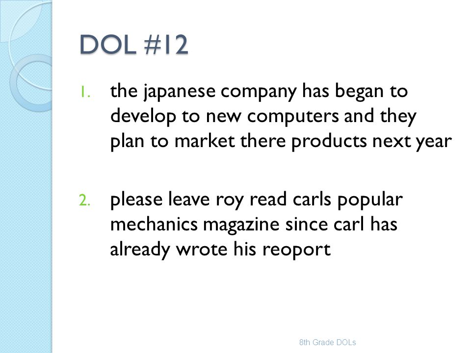 DOL #12 the japanese company has began to develop to new computers and they plan to market there products next year.