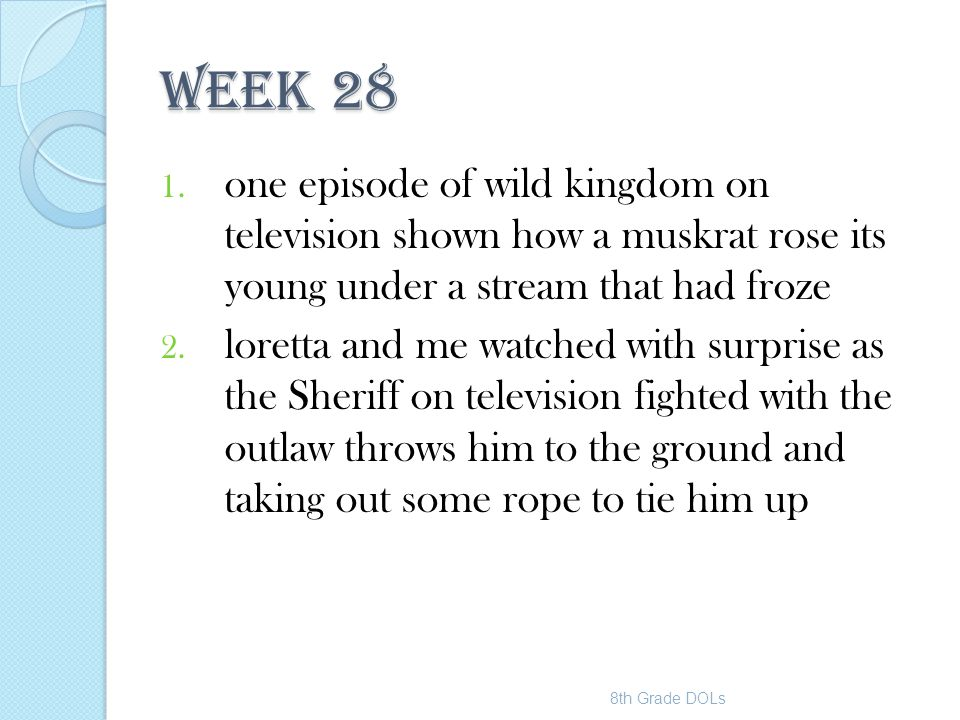 WEEK 28 one episode of wild kingdom on television shown how a muskrat rose its young under a stream that had froze.