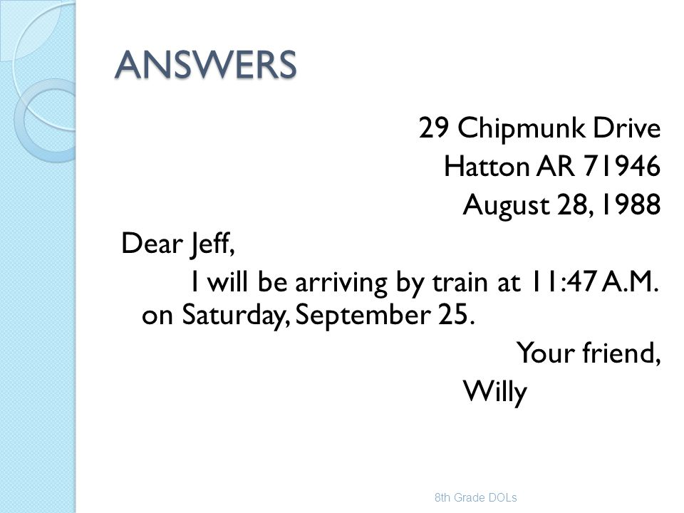 ANSWERS 29 Chipmunk Drive Hatton AR 71946 August 28, 1988 Dear Jeff,