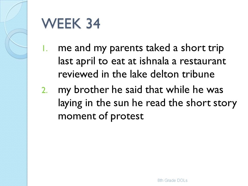 WEEK 34 me and my parents taked a short trip last april to eat at ishnala a restaurant reviewed in the lake delton tribune.