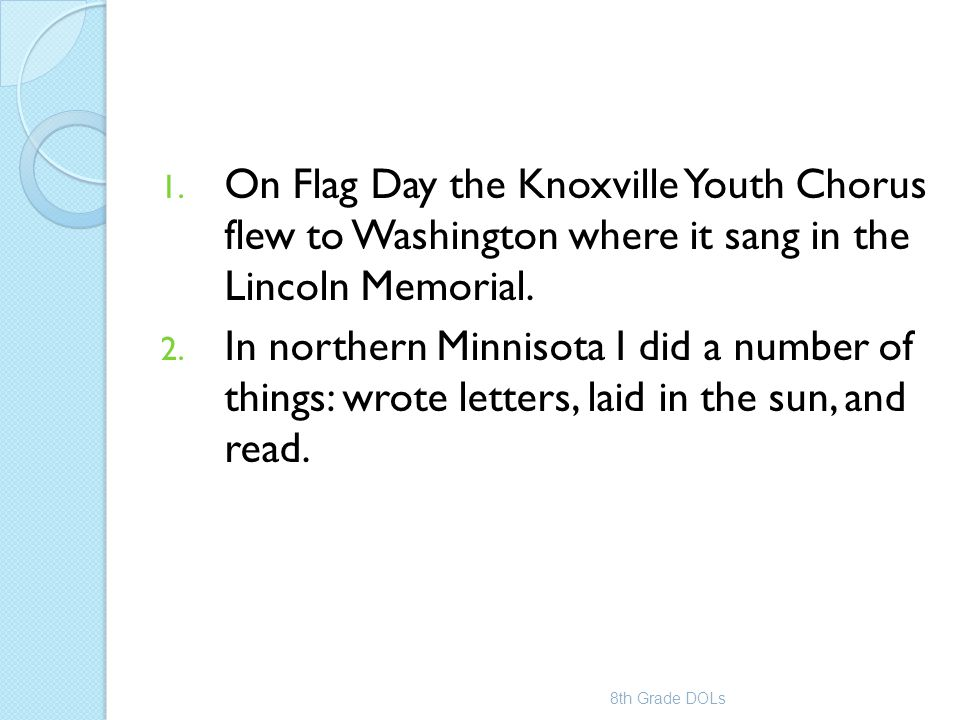 On Flag Day the Knoxville Youth Chorus flew to Washington where it sang in the Lincoln Memorial.