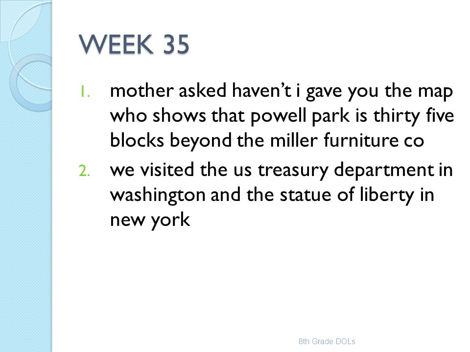 WEEK 35 mother asked haven't i gave you the map who shows that powell park is thirty five blocks beyond the miller furniture co.