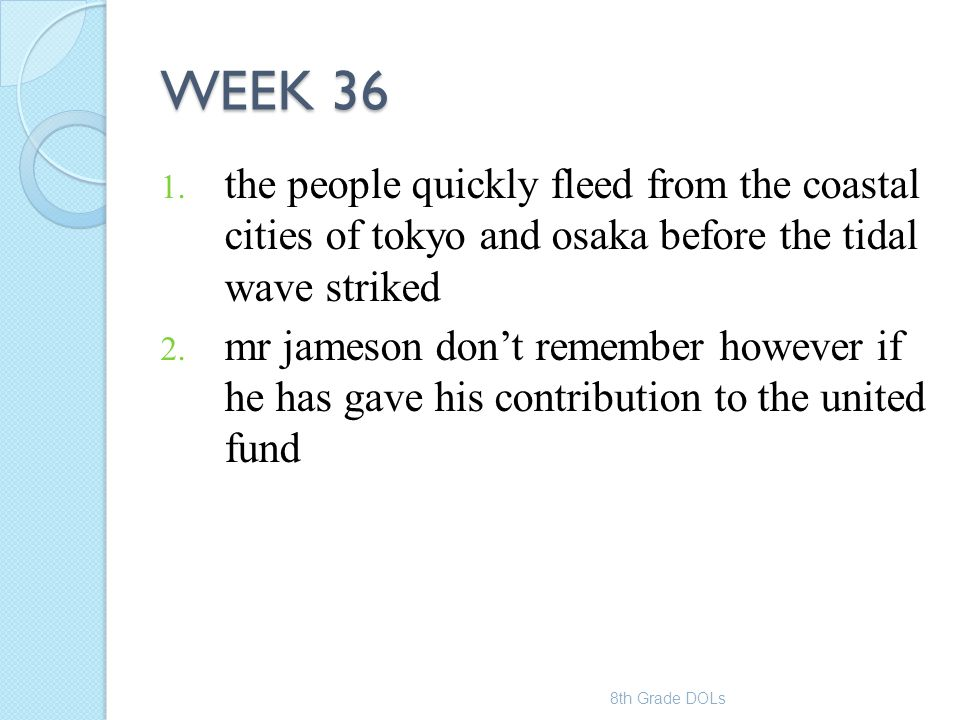 WEEK 36 the people quickly fleed from the coastal cities of tokyo and osaka before the tidal wave striked.