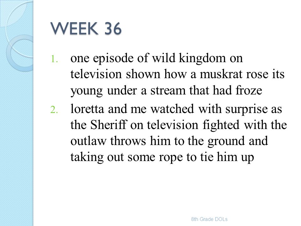WEEK 36 one episode of wild kingdom on television shown how a muskrat rose its young under a stream that had froze.