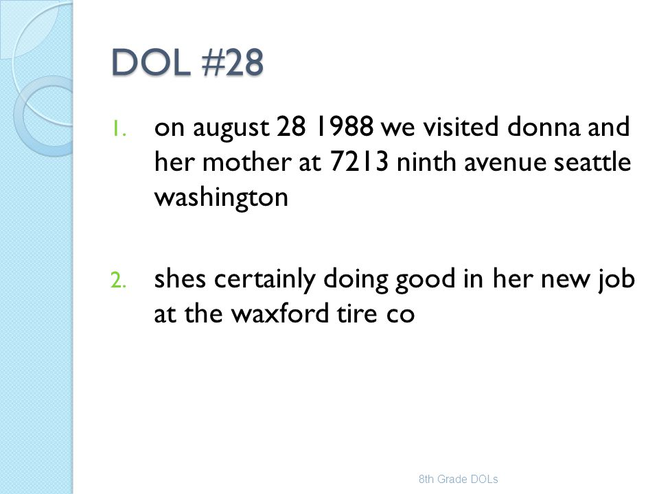 DOL #28 on august 28 1988 we visited donna and her mother at 7213 ninth avenue seattle washington.
