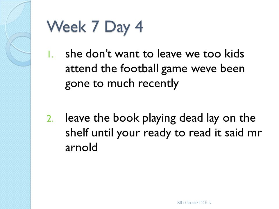 Week 7 Day 4 she don't want to leave we too kids attend the football game weve been gone to much recently.