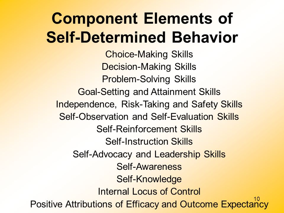 Component Elements of Self-Determined Behavior