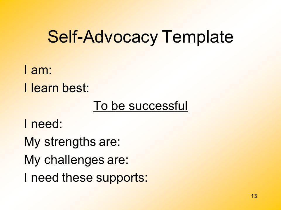 Self-Advocacy Template