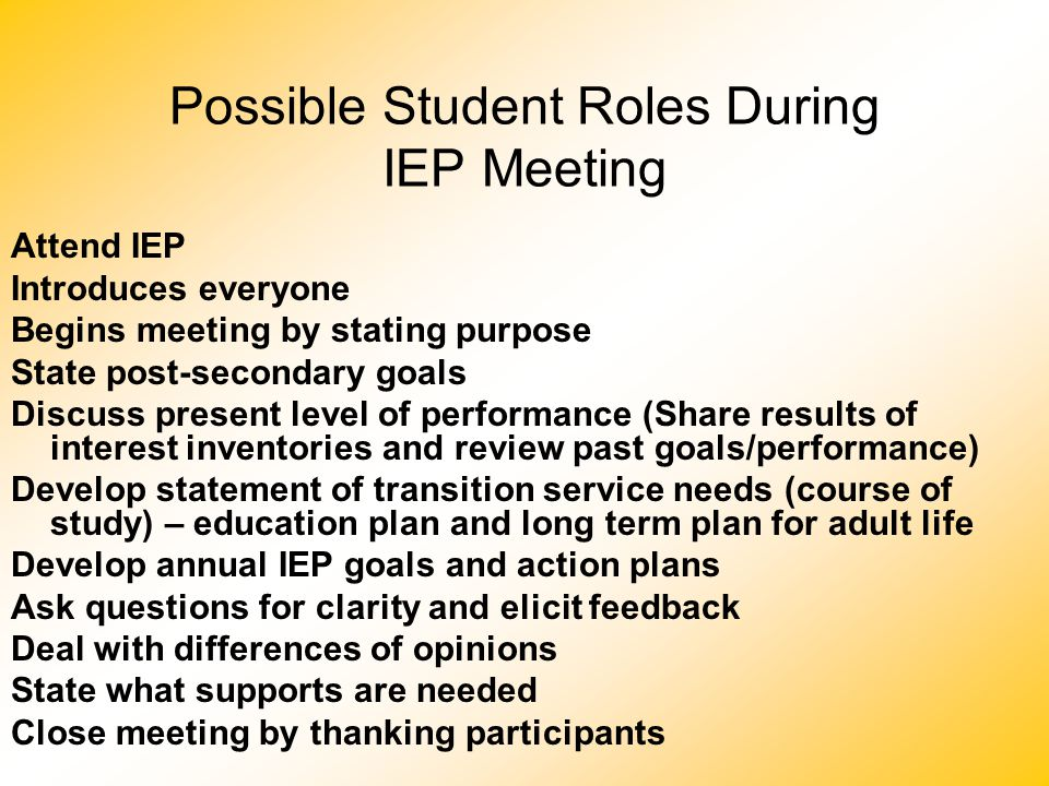 Possible Student Roles During IEP Meeting