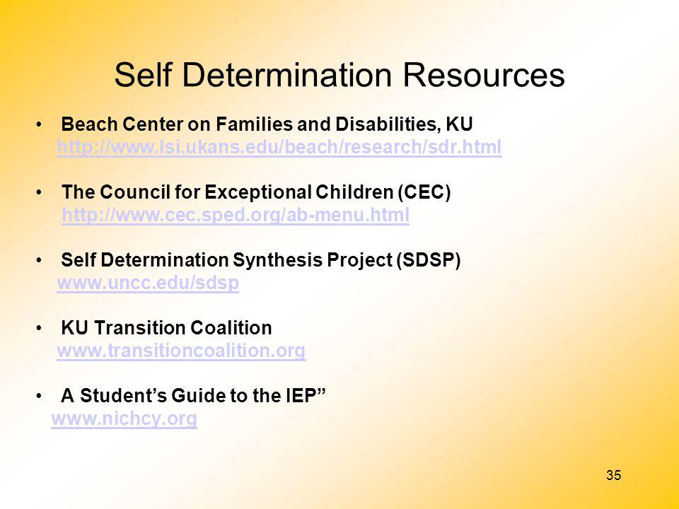 Self Determination Resources