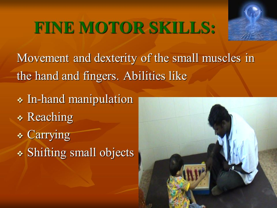 FINE MOTOR SKILLS: Movement and dexterity of the small muscles in