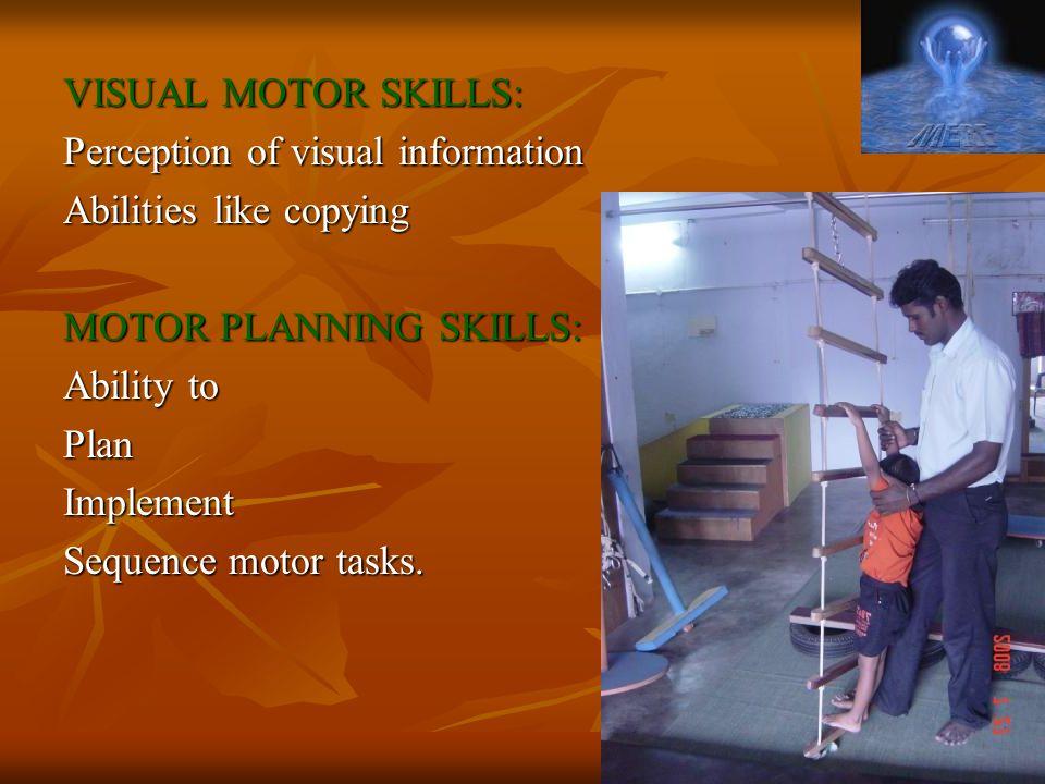 VISUAL MOTOR SKILLS: Perception of visual information. Abilities like copying. MOTOR PLANNING SKILLS: