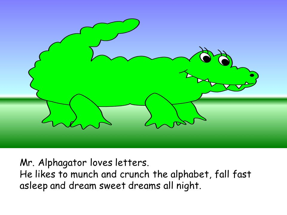 Mr. Alphagator loves letters.