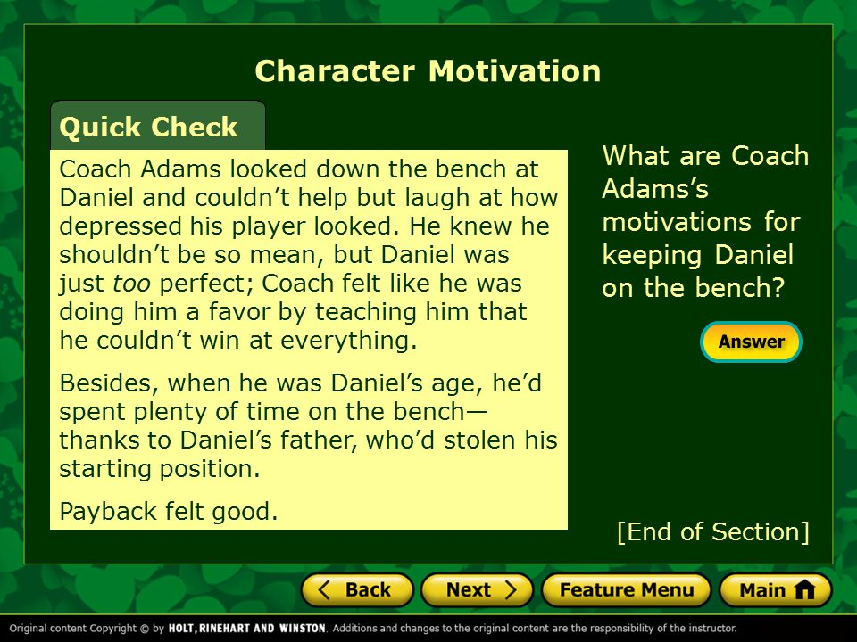 Character Motivation Quick Check