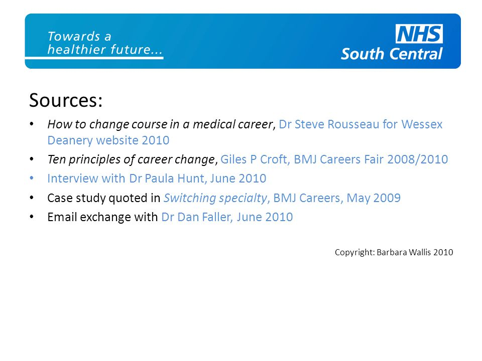 Sources: How to change course in a medical career, Dr Steve Rousseau for Wessex Deanery website 2010.