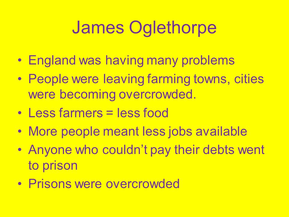 James Oglethorpe England was having many problems