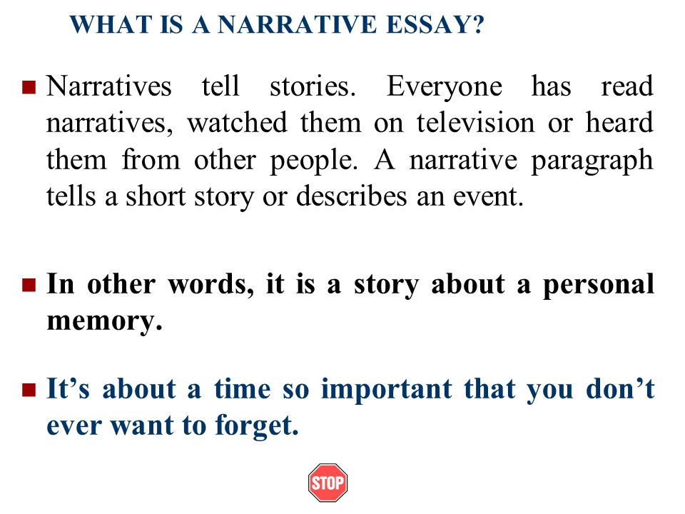Narrative Essays. Example Of A Narrative Essaypast Exam Papers