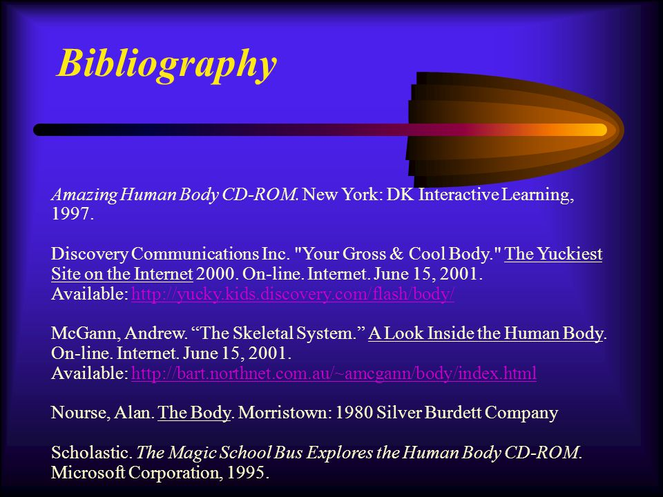 Bibliography Amazing Human Body CD-ROM. New York: DK Interactive Learning, 1997.