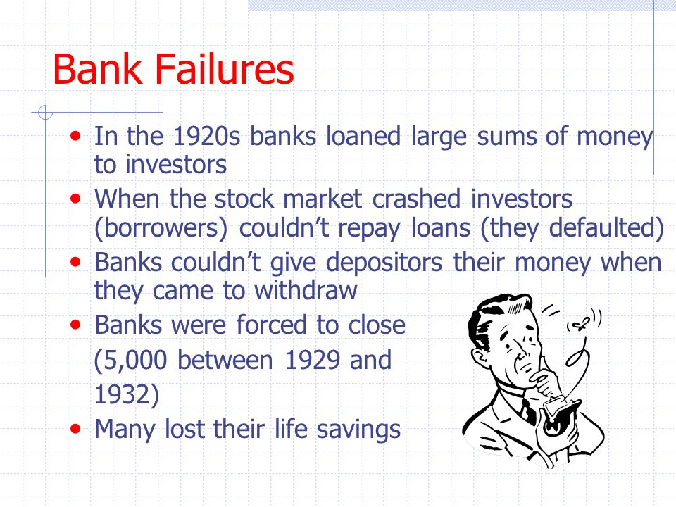Bank Failures In the 1920s banks loaned large sums of money to investors.