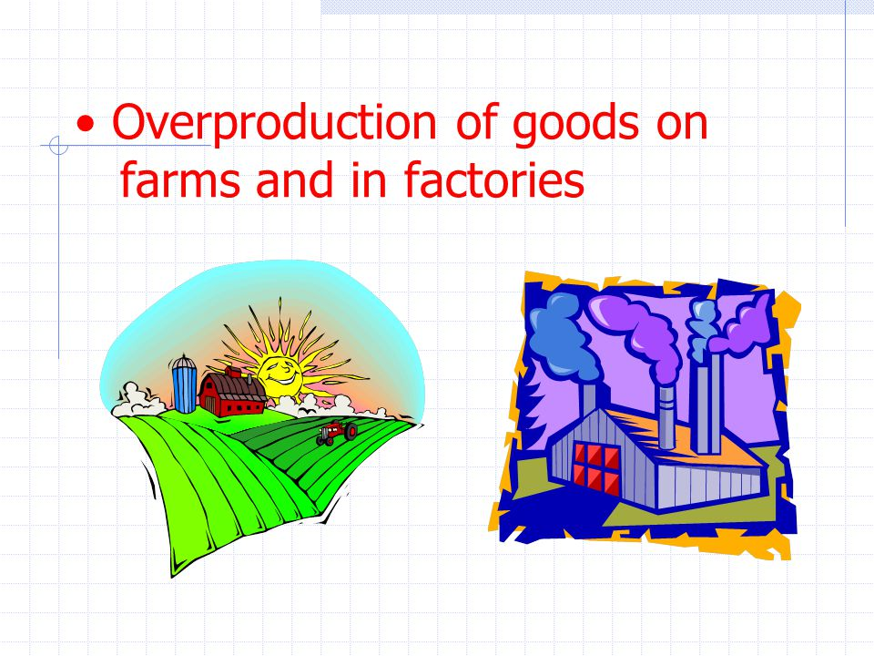Overproduction of goods on farms and in factories
