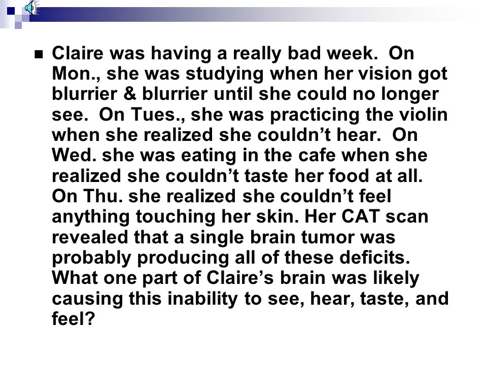 Claire was having a really bad week. On Mon