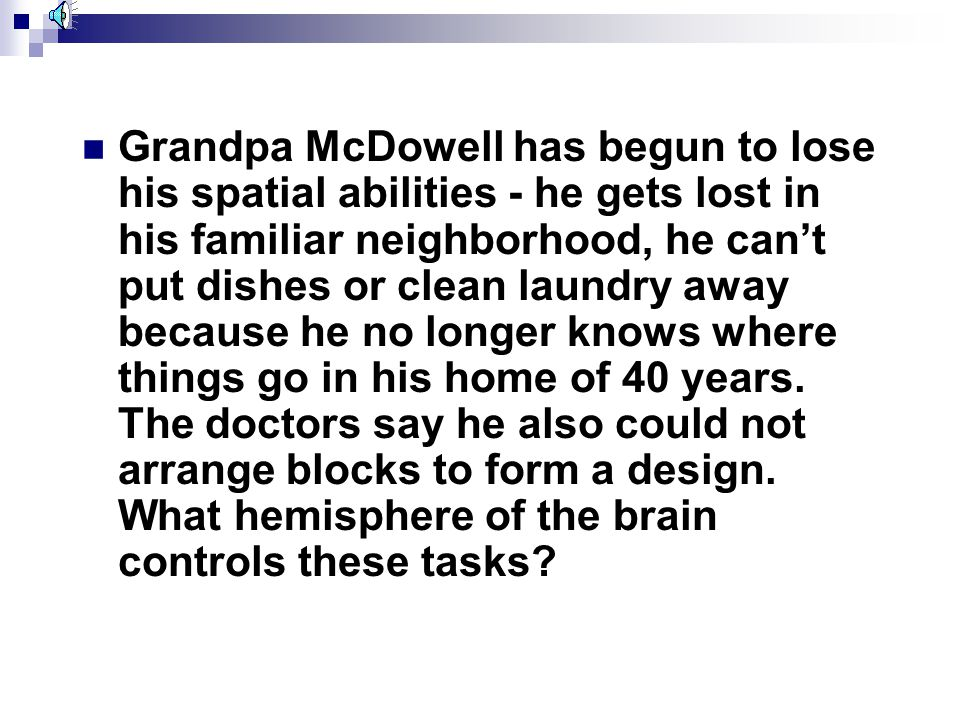 Grandpa McDowell has begun to lose his spatial abilities - he gets lost in his familiar neighborhood, he can't put dishes or clean laundry away because he no longer knows where things go in his home of 40 years.