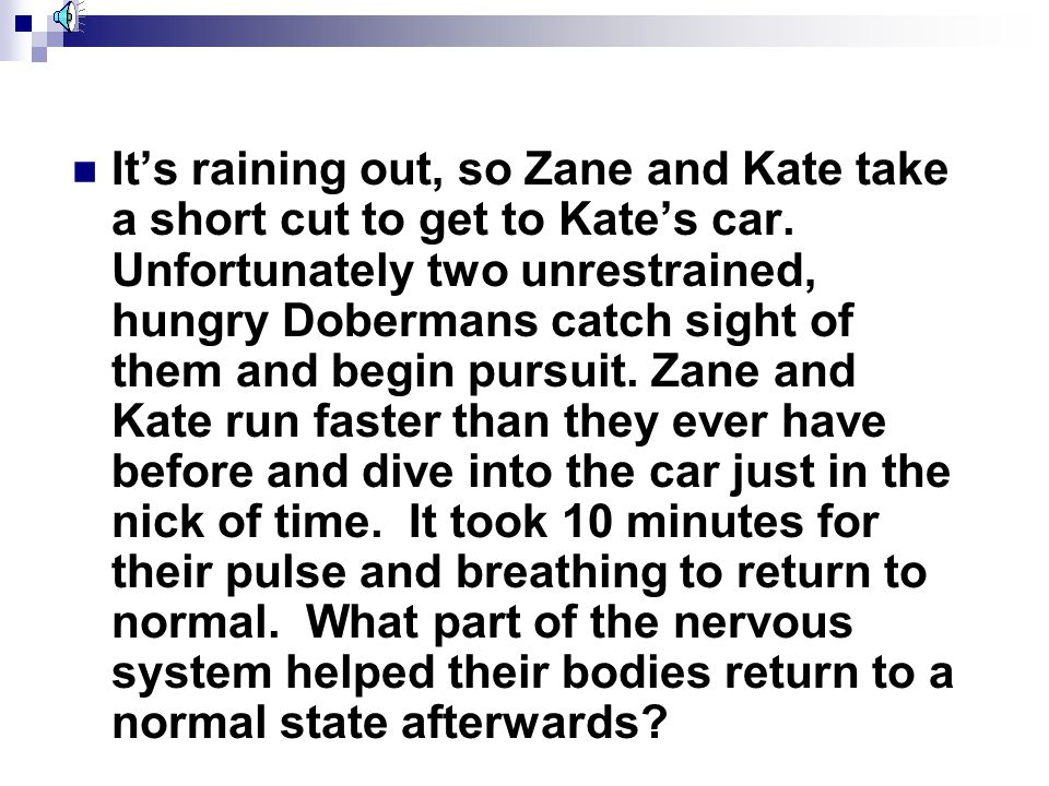 It's raining out, so Zane and Kate take a short cut to get to Kate's car.