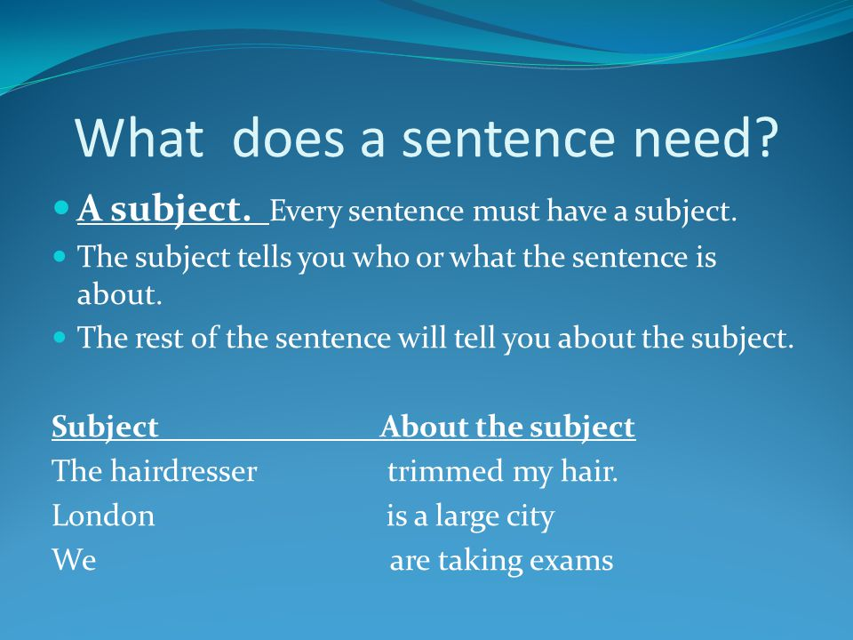 What does a sentence need
