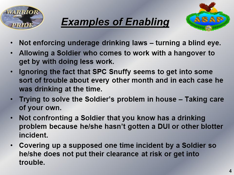 Examples of Enabling Not enforcing underage drinking laws – turning a blind eye.