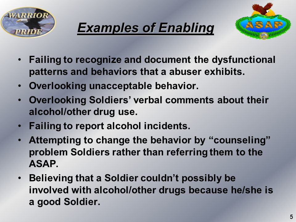 Examples of Enabling Failing to recognize and document the dysfunctional patterns and behaviors that a abuser exhibits.