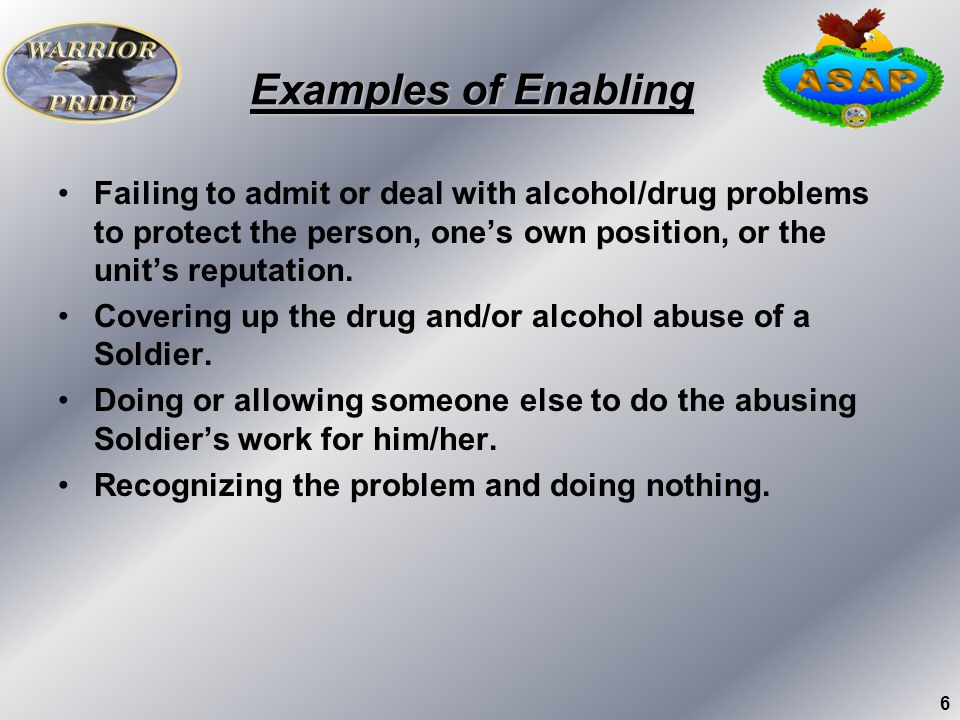Examples of Enabling Failing to admit or deal with alcohol/drug problems to protect the person, one's own position, or the unit's reputation.