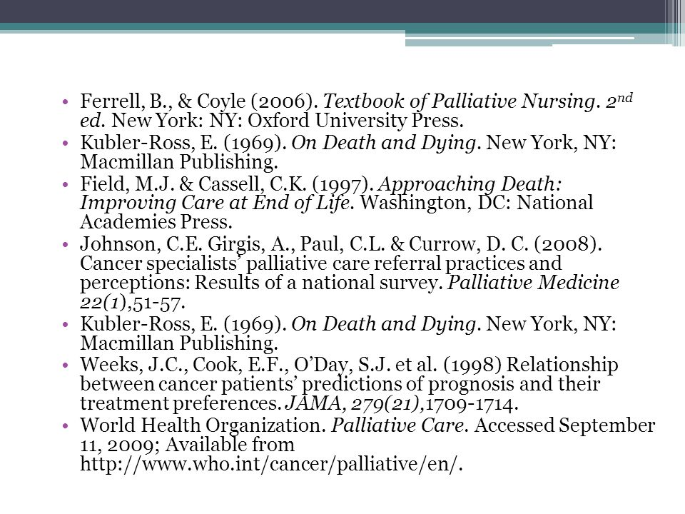 Ferrell, B. , & Coyle (2006). Textbook of Palliative Nursing. 2nd ed