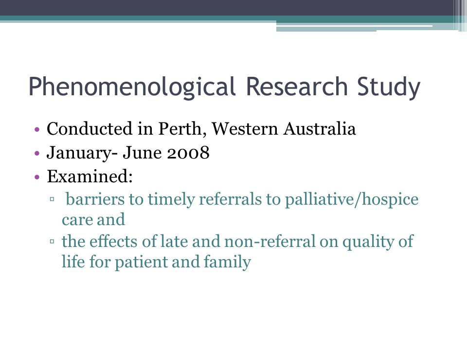Phenomenological Research Study
