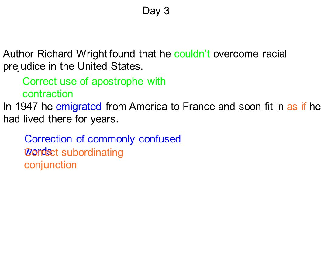 Day 3 Author Richard Wright found that he couldn't overcome racial prejudice in the United States. Correct use of apostrophe with contraction.